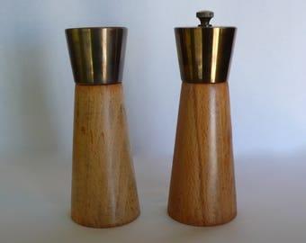 Vintage Wood Salt and Pepper Grinder Modern Danish  Mid-Century