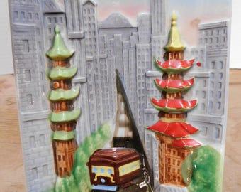 Vintage Souvenir San Francisco Wall Plaque Trolley Car China Town