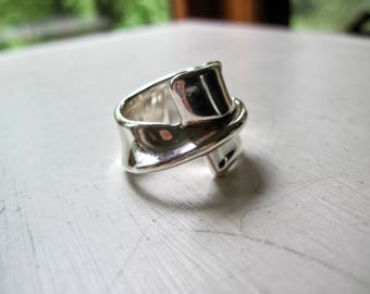 Israeli Vintage Modern Sterling Silver Ring, Bat-Ami Electroform Ring, Statement Ring, 925 Silver Jewelry, Contemporary Silver Ring