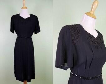"1950's Black Dress - Vintage 40's 1950's Dress - 32"" Waist - Vintage LBD"