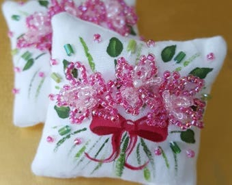 Miniature Dollhouse Pillow-Pink Flower Power