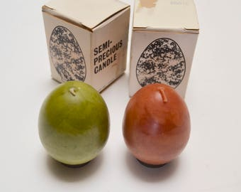 vintage egg candles with stands, set of two, in original box, Faroy, olive green and agate