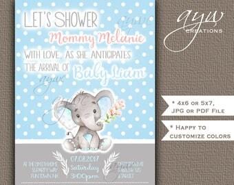 Cute Elephant Baby Shower Invitations Boy Blue Grey Cute Elephant Baby Shower Invitations Printable Invites Rustic Polka Dots Watercolor
