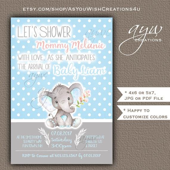 Cute elephant baby shower invitations boy blue grey cute elephant il570xn filmwisefo