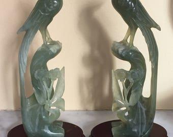 Pair of Stunning Jade Birds