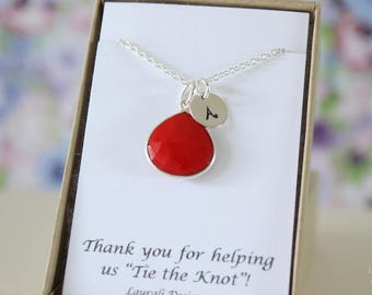 2 Monogram Bridesmaid Necklace Coral, Bridesmaid Gift, Red Gemstone, Sterling Silver, Initial Jewelry, Personalized, Jr Bridesmaid Gift