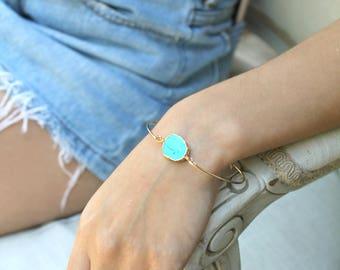 Turquoise slice Bangle bracelet, 14k Gold Filled stacking bracelet, genuine turquoise stone, natural free form, electroplated gold edge