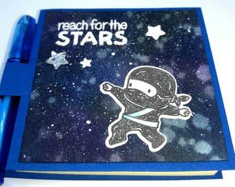 Boy Ninja theme sticky note holder, Reach for the Stars, encouragement gift, kawaii ninja, sci fi theme gift, galaxy theme