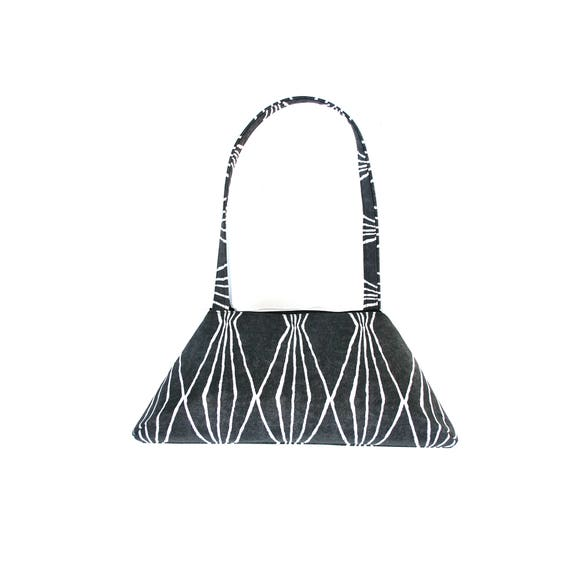 SALE! Dark grey, geometric pattern, vintage inspired, retro style, tote
