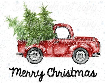 Merry Christmas Truck Vintage Truck with Tree Heat Press Transfer DIY Iron on Transfer