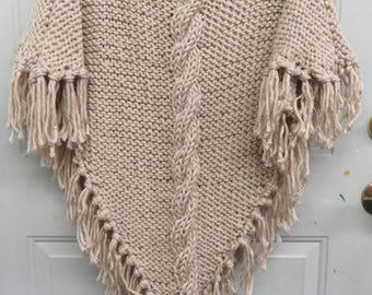 Women Quick Knit Cabled Poncho