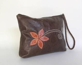 ON SALE Distressed Brown Leather Bag , Boho Chic Bags, Trendy Wristlet, Fashion Pouch, Cosmetic Purse, Cosmos