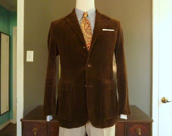 Vintage POLO by Ralph Lauren Chocolate Brown CORDUROY Norfolk Style Back Belted Jacket Size S | 38 R. Made in Macau.