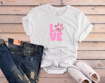 Lilly Pulitzer Inspired LOVE Women's T-Shirt for Dog Moms | So Cute for Spring!