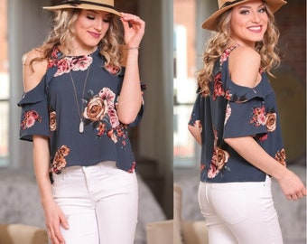 Adorable Floral Cold Shoulder Tunic for Women | Must-Have for Spring and Summer!