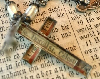 French Silver Reliquary Cross Triple Strand French Medals Necklace