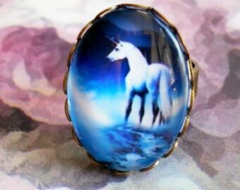 Unicorn 2 adjustable bronze ring setting glass cabochon
