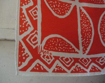 Vintage Vera scarf red and white abstract 21 x 21 inches