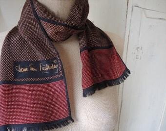 vintage  Diane Von Furstenberg  scarf silk classic black maroon gold fringed  6 x 41 inches