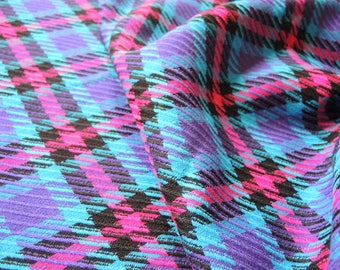 Vintage 1980s wool fabric large print plaid medium to light weight pink purple blue black  62 inches wide