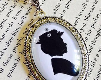 Large Silhouette Mary Poppins Cameo Pendant
