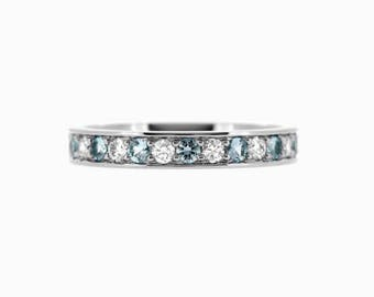 Blue and white diamond wedding band, white gold, yellow gold, rose gold, diamond half eternity ring, blue wedding ring, light blue diamond
