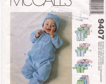 FF 1998 McCalls 9407 Infants & Preemie Layette Sewing Pattern, Gowns, Rompers, Tops, Pants, Cap and Booties, All Sizes 7-18lbs, UNCUT