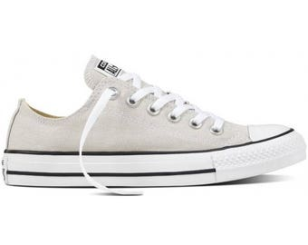 Low Top Converse Putty Gray Paste Grey Ladies Glass Slippers w/ Swarovski Crystal Chuck Taylor Rhinestone Bling All Star Sneakers Shoes
