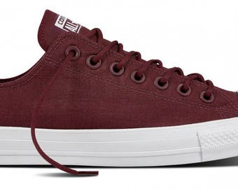 Mens Ladies Converse Burgundy Wine Dark Sangria Monochrome Red Low Top w/ Swarovski Crystal Rhinestone Wedding Chuck Taylor All Star Shoe