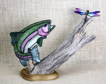Rainbow Trout Stained Glass with Dragonfly on Wood Base, Sculpture, Gifts for Men, Wildlife Art, Glass Art