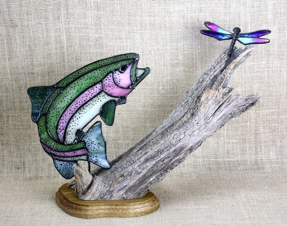Stained Glass Rainbow Trout with Dragonfly on Wood Base