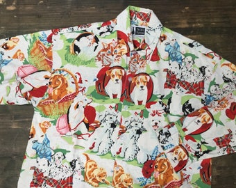 Cat & Dog Print Oversized Shirt