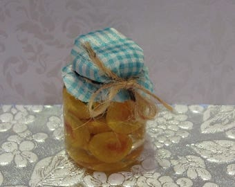 Mini pickled  peaches,polymer clay peaches,resin peaches,doll food,18 inch dolls,play food,mini pantry food