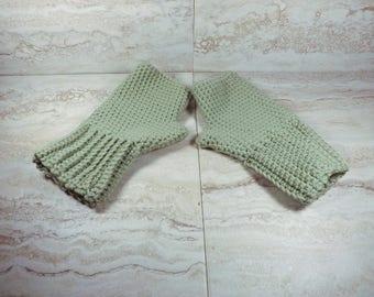 Merino Wool Fingerless Gloves, Green Winter Mittens, Womens Texting Mitts, Wrist Warmers