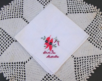 Vintage Australian Souvenir Hanky . Sturt's Desert Pea . Australia Handkerchief
