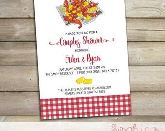 Couples Shower Crawfish Boil Printable Invitation, Crawfish Boil Baby Shower Invitation, Rehearsal Dinner, Engagement Party, Graduation