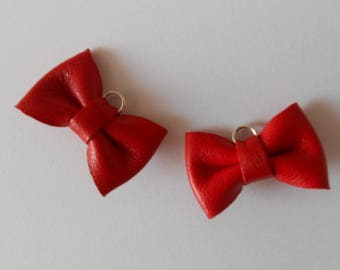 2 mini knot leather red 2 x 3 cm