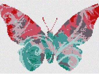 Needlepoint Kit or Canvas: Butterfly Swirls Sorbet