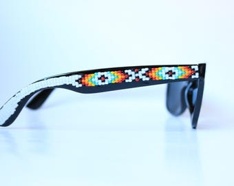 Flash Sale! White Beaded Sunglasses Black Frames - Native Aerican Indian Handcrafted