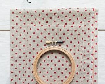 Cross Stitch Fabric | 32 ct Linen - Red Polka Dot on Natural Linen Polka Dot Linen Needlework Fabric Point de Croix