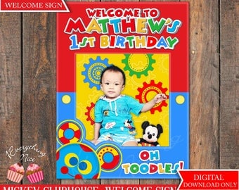 """Mickey Mouse Clubhouse 18"""" x 24"""" Happy Birthday Digital Welcome Sign"""
