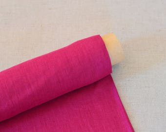 100% pure thin softened linen fabric. Raspberry pink,  medium weight -/+210 m2, clothes linen