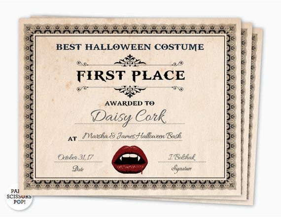 Halloween Award, Halloween Costume Certificate, 1st Place Costume Award,  Costume Contest Award, Gothic Party Invite, Costume Party Award  First Place Certificate