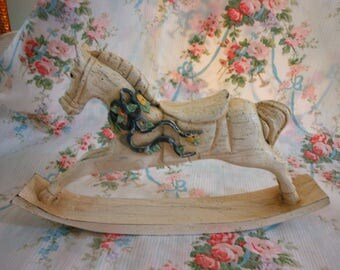 Wooden Rocking Horse, small, Shabby, Vintage