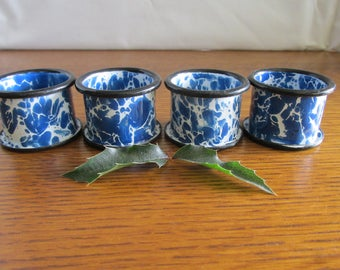 Set of Blue Enamelware Napkin Rings