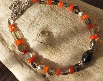 Silver bracelet with smoky Quartz and carnelian stones