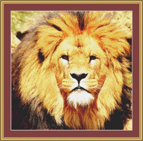 Lion Face Cross Stitch Pattern /Digital PDF Files /Instant downloadable