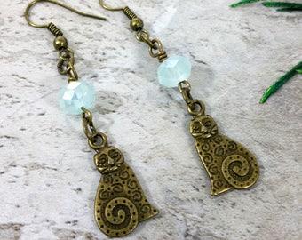 Blue Crystal Cat Earrings, Cat Jewelry, Cat Dangle Earrings, Cats, Cat Lover Gift, Animal Earrings, Kitty Earrings,Bronze Cats, Gift Idea