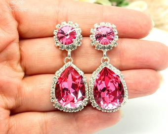 Pink Chandelier Earrings Swarovski Bridal Earrings Fuchsia Earrings Hot Pink Earrings Bridesmaid Earrings Crystal Wedding Earrings RP31DD