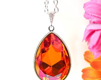 Astral Pink Swarovski Crystal Necklace Large Pendant Statement Necklace Orange Pink Fuchsia Coral Magenta Silver Bridesmaid Necklace AP42N